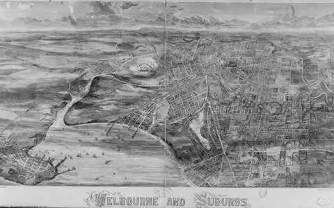 Old map labelled Melbourne and Suburbs