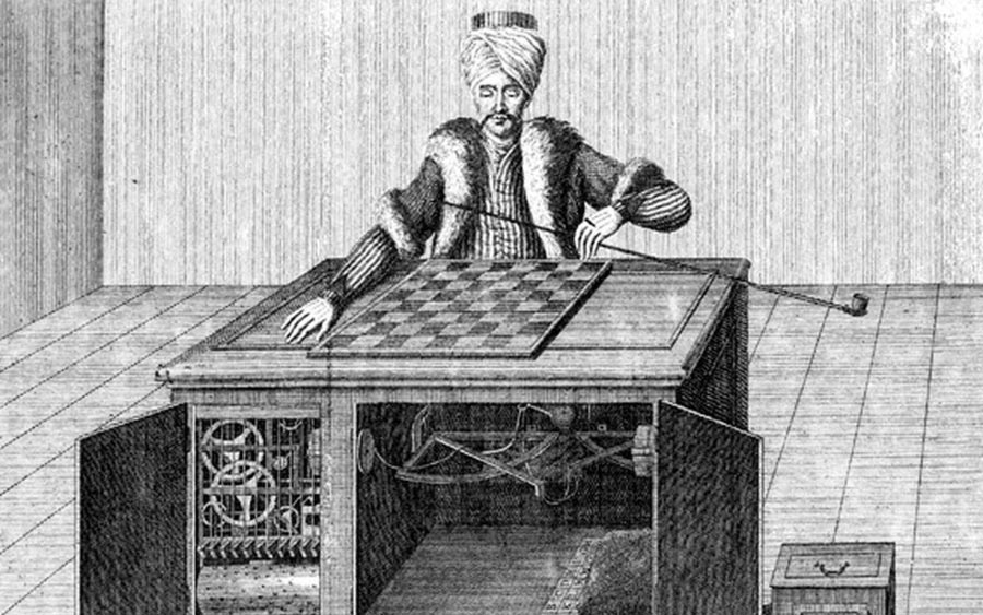 An etching of an old automatic chess playing machine