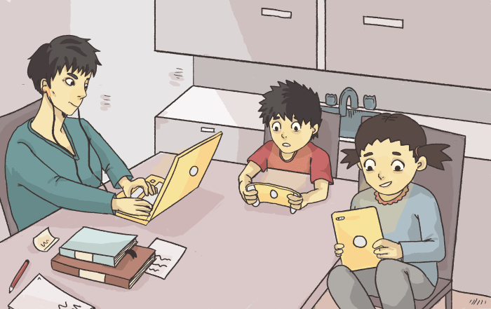 A mother with a laptop sitting at the kitchen table with two children, each with a tablet computer.