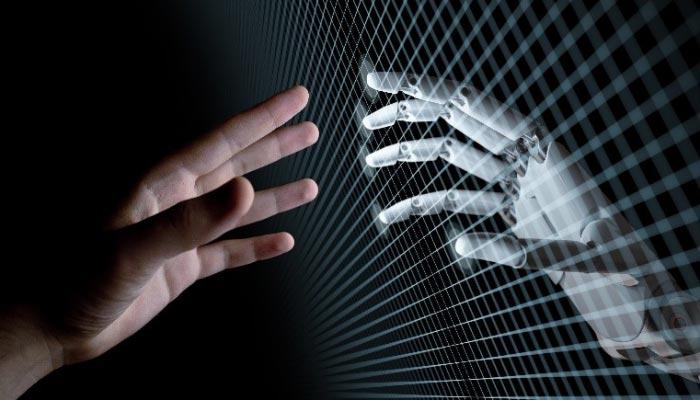 A human hand reaches toward a mirror image robot hand.