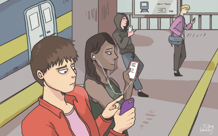 Cartoon by Ellen Wadley of people waiting on a platform, reading their phones while waiting for a train