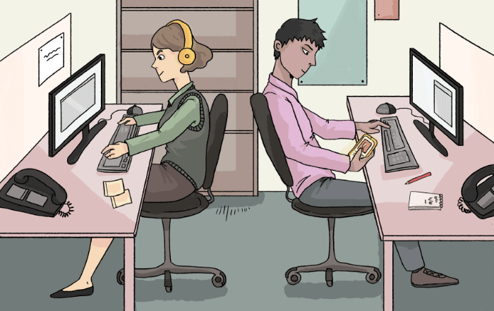 two office workers sitting back-to-back in their workstations
