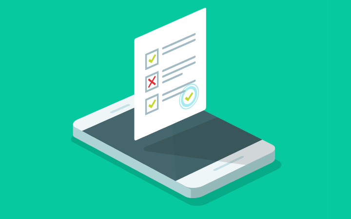 A drawing of a smart phone with a checklist hovering above the screen